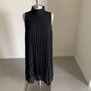 M.S.S.P BLACK PLEATED MOCK NECK DRESS GU SZ XL